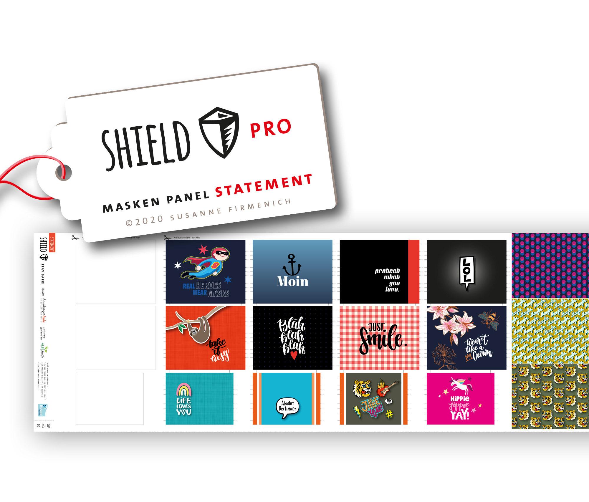 Shield Pro - Shield Panel STATEMENT eckig von Hamburger Liebe & Albstoffe - antimikrobiell für Atem-und Mundmasken!