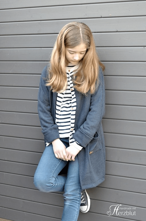 HEDI NÄHT AVA Mädchen Mantel Cardigan Papierschnittmuster