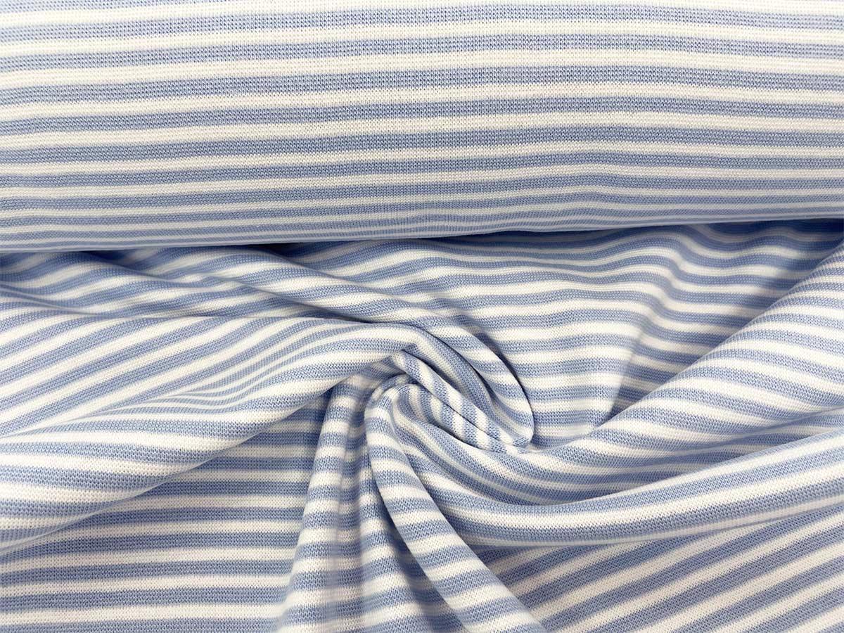 Bündchen - hellblau/weiß gestreift