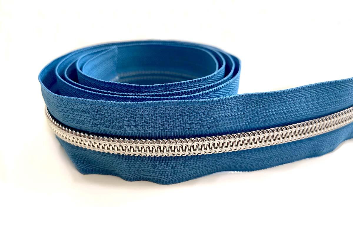 Reißverschluss in blau/silber - 1m - endlos