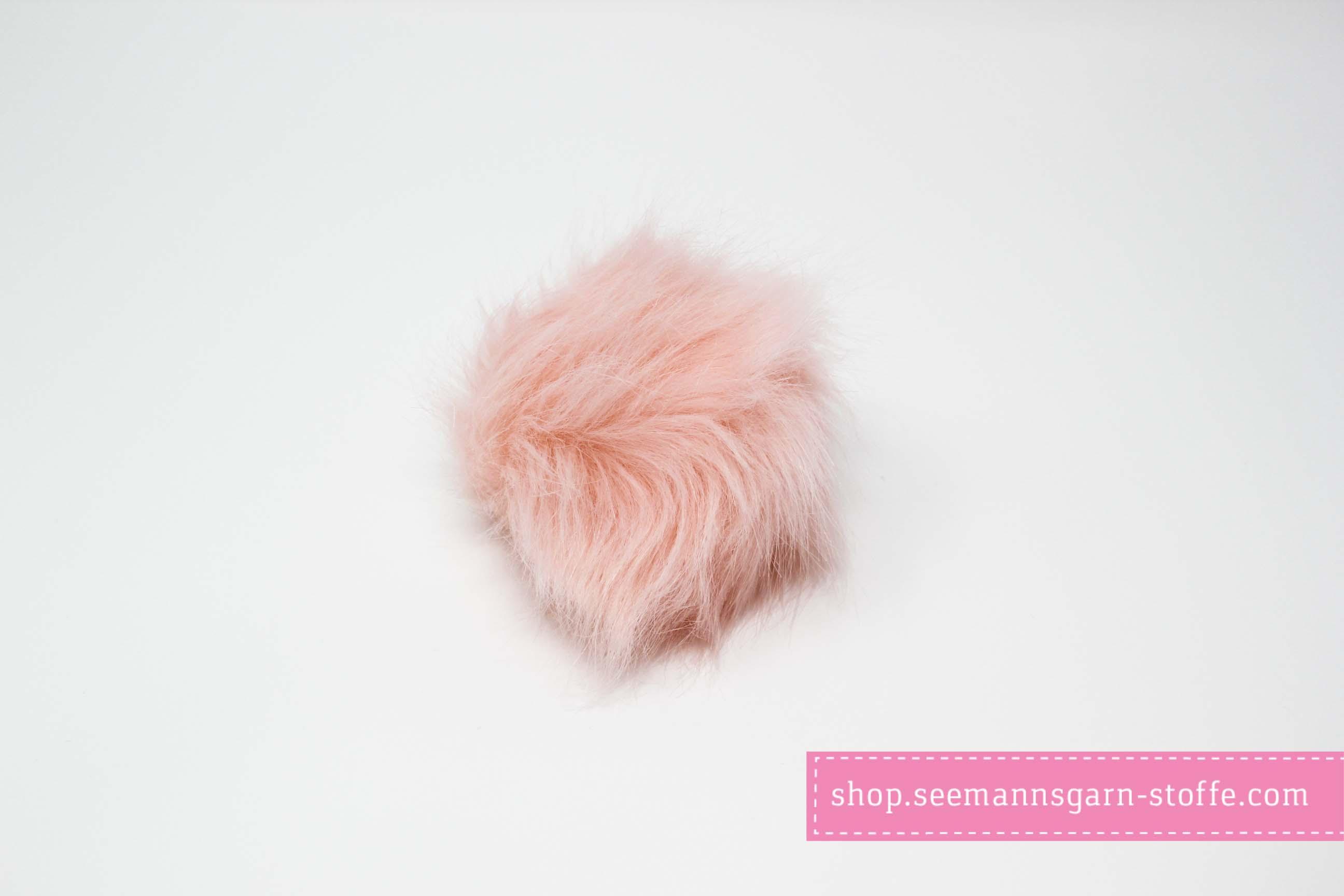 Pompom - rosa 12 mm mit Druckknopf
