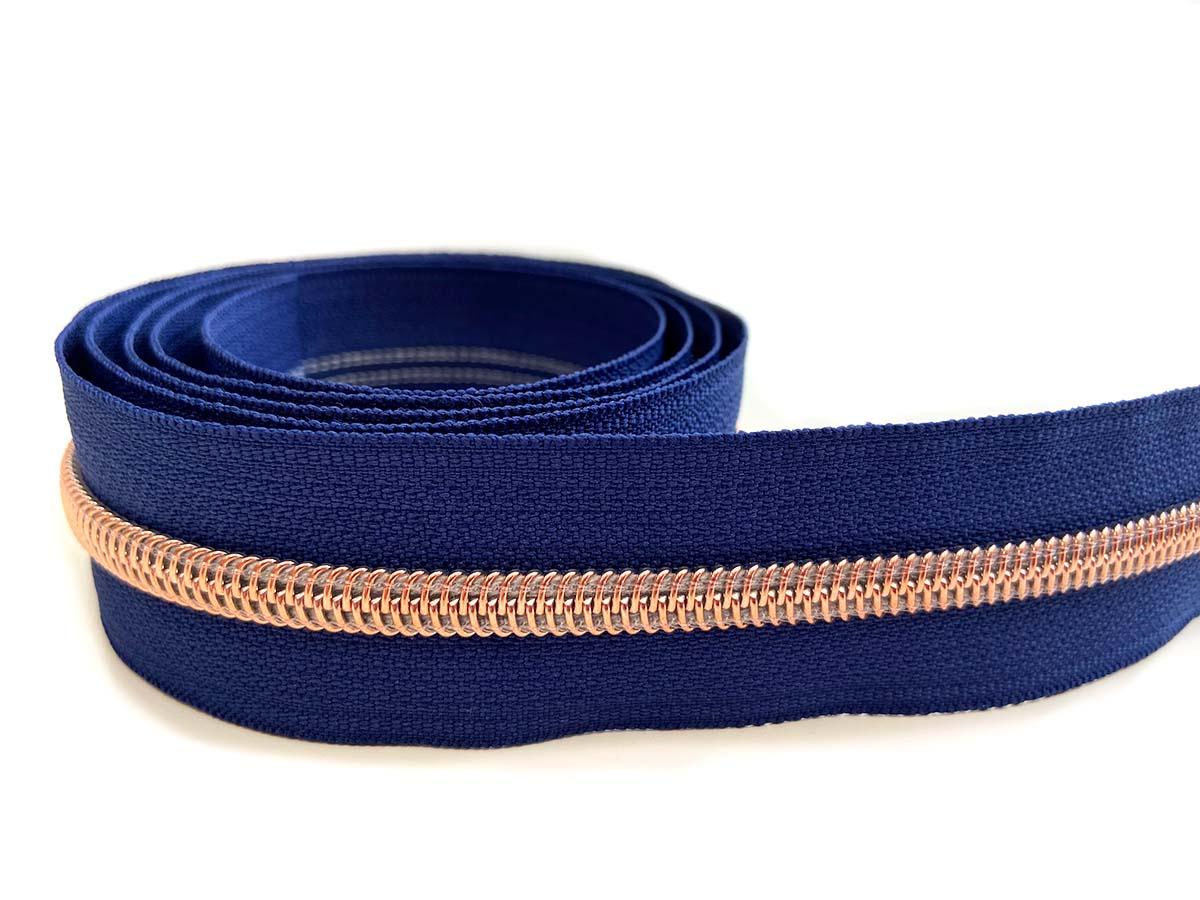 Reißverschluss in blau/rosègold - 1m - endlos