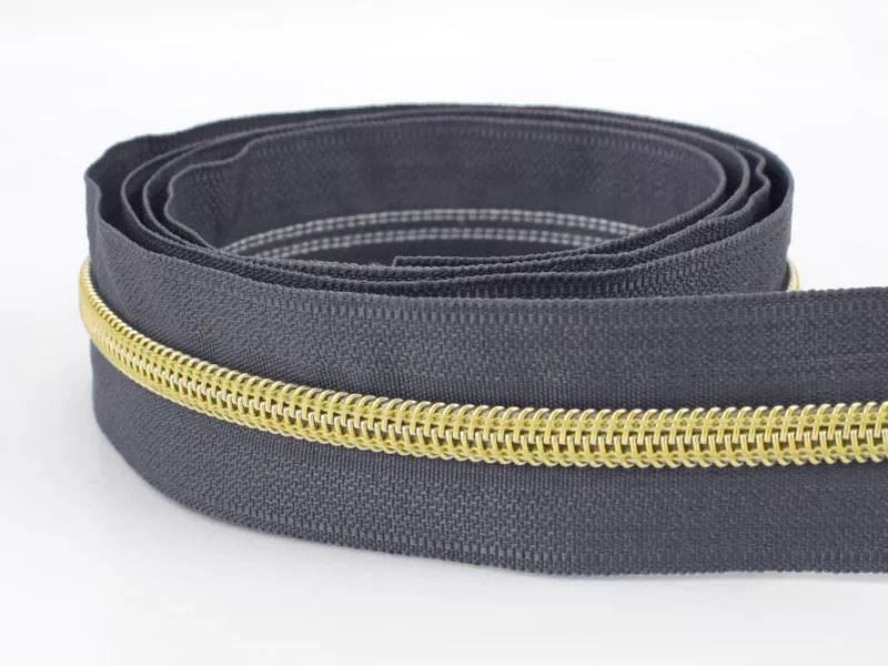 Reißverschluss endlos 1m in dunkelgrau/gold