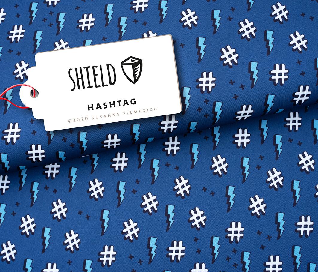 Shield Pro - Hashtag blau von Hamburger Liebe & Albstoffe - antimikrobiell für Atem-und Mundmasken!