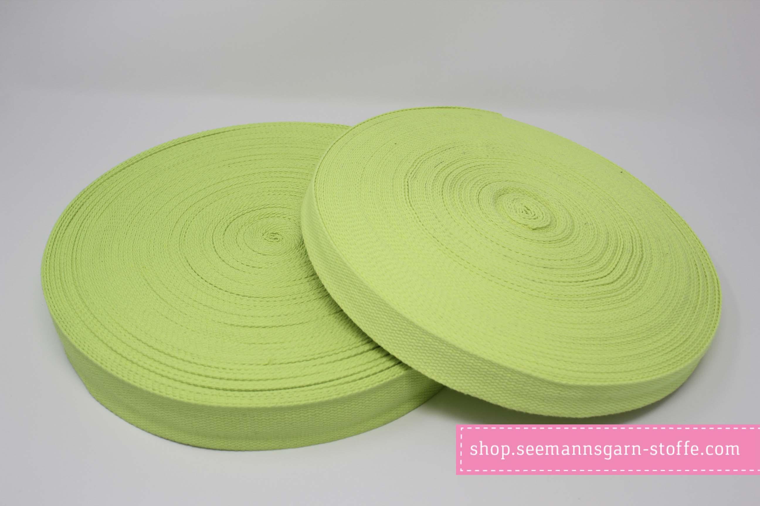 Baumwoll Gurtband hellgrün 25 mm