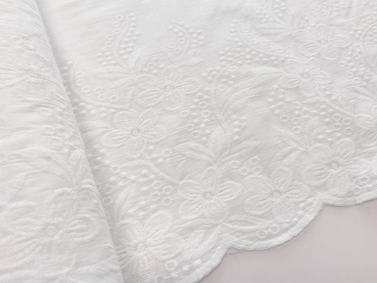 Webware Baumwolle - Blumenmuster - weiß