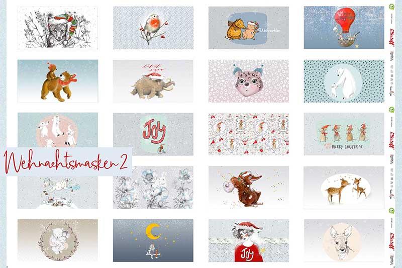 Bio-Baumwolle Panele Weihnachtsmasken 2 für Gesichtsmasken von Lillestoff