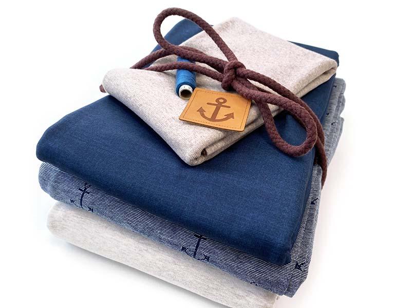 Stoffpaket Maxi Maritim Captain Ahoi in blau und beige