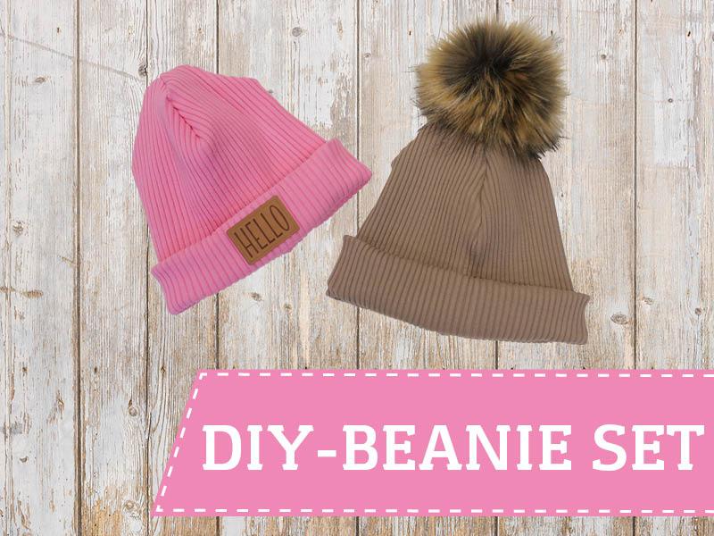 DIY Beanie-Set mit Rippenbündchen, Label und Pompon + kostenloses Schnittmuster