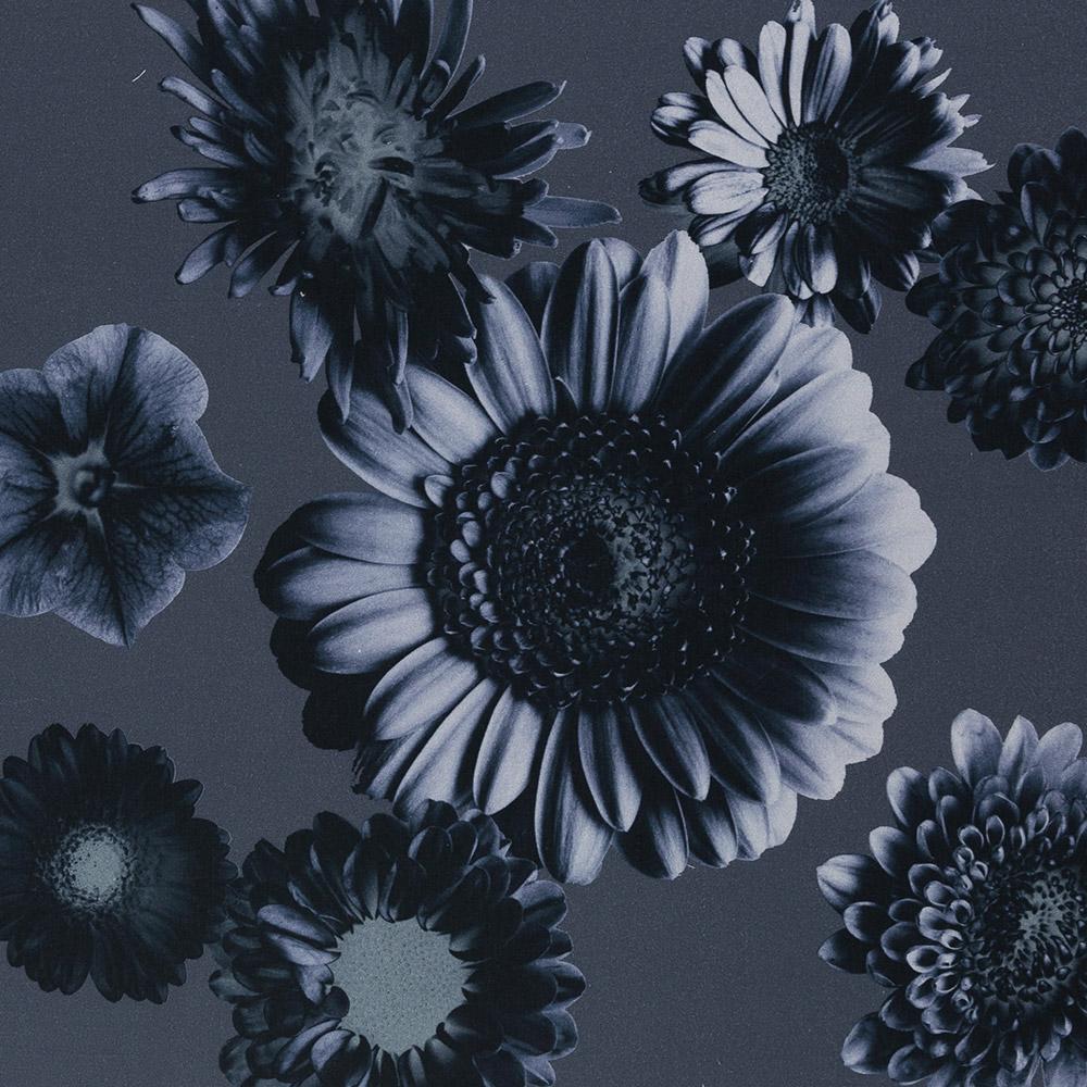 Baumwollstoff Satin Tinted Flowers by Cherry Picking - Swafing - dunkelblau