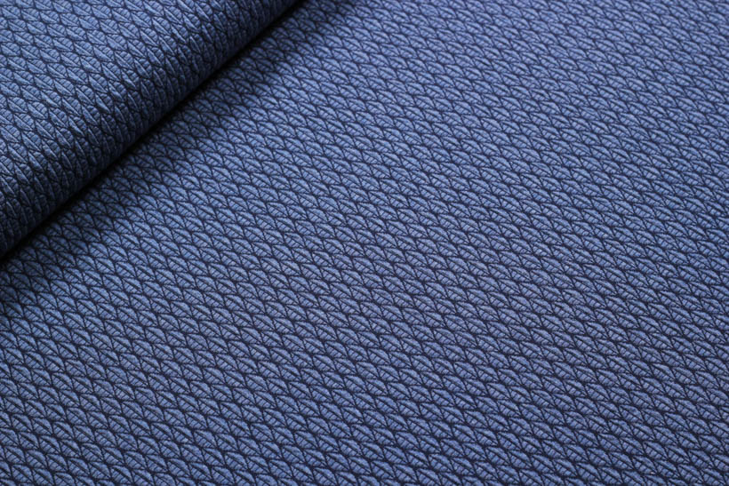 "Jacquard Jersey - BLOOM ""Leafy Knit"" dunkelblau  - HAMBURGER LIEBE & ALBSTOFFE"