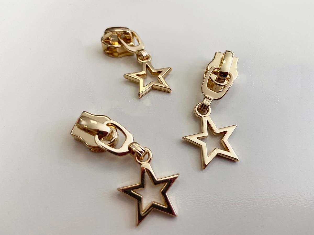 Zipper für Reißverschlüsse - Stern/gold