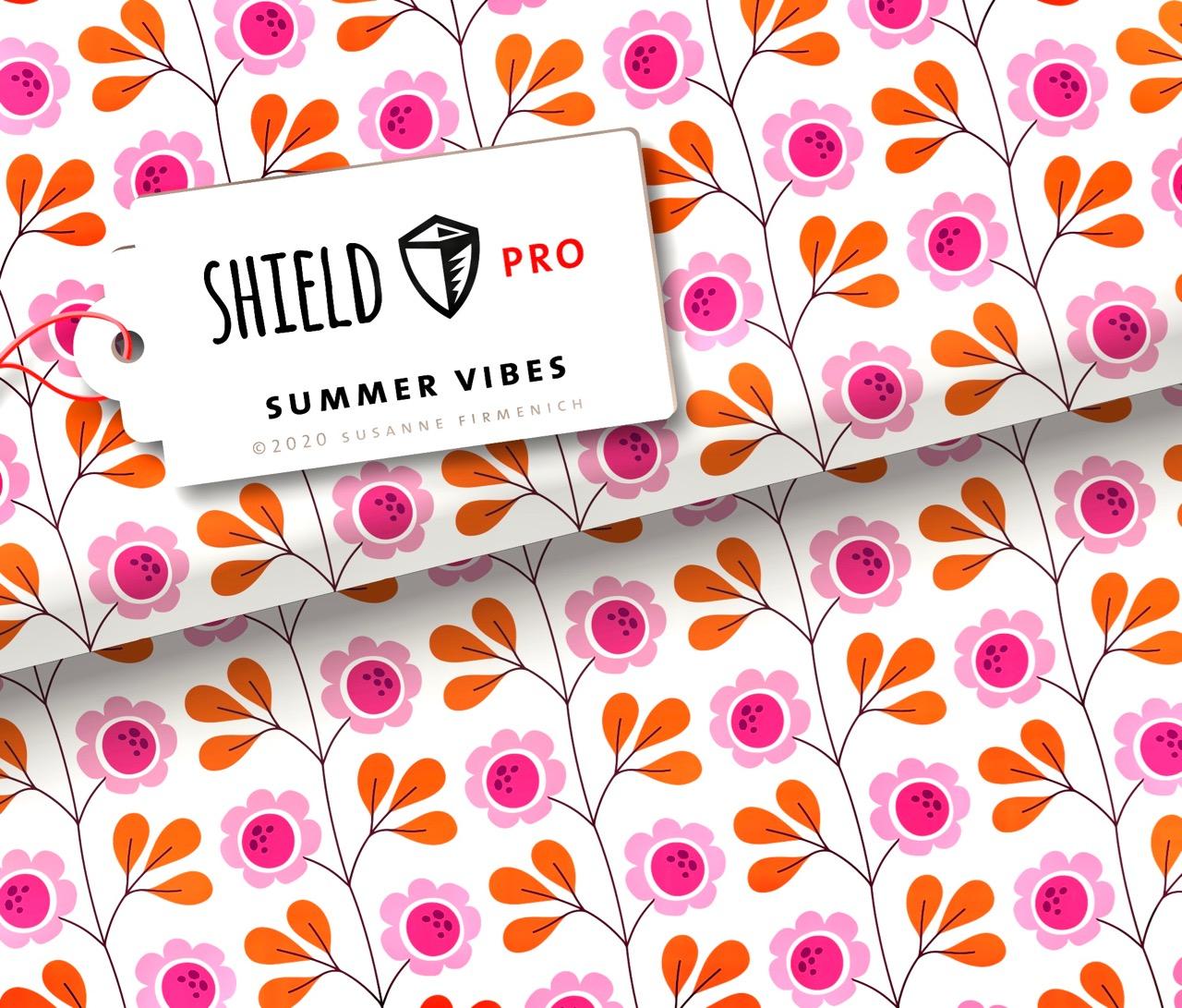 Shield Pro - Summer Vibes Weiß von Hamburger Liebe & Albstoffe - antimikrobiell für Atem-und Mundmasken!