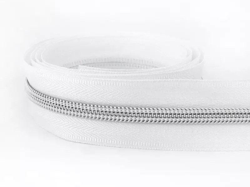 Reißverschluss endlos 1m in weiß/silber