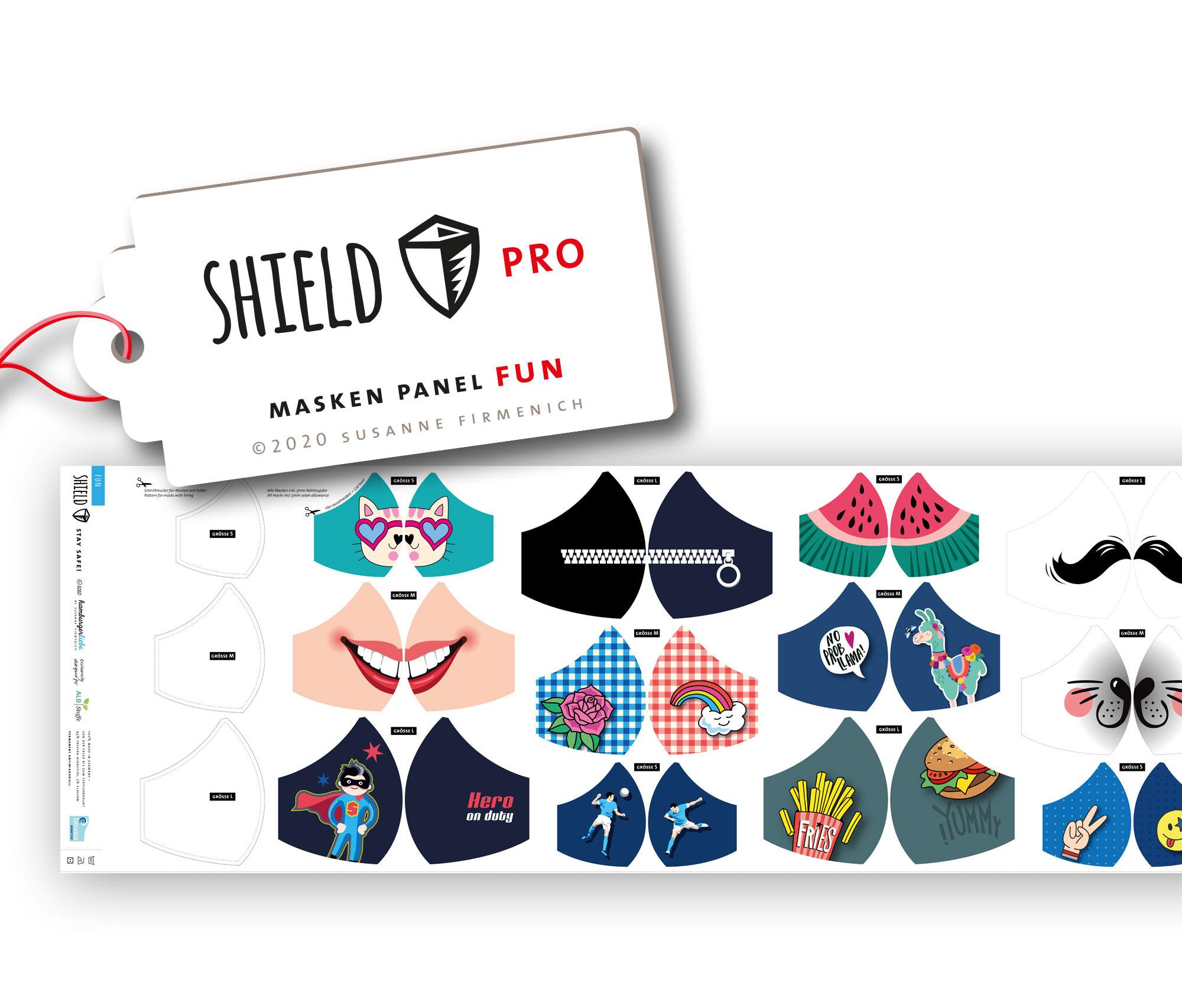 Shield Pro - Shield Panel FUN rund von Hamburger Liebe & Albstoffe - antimikrobiell für Atem-und Mundmasken!