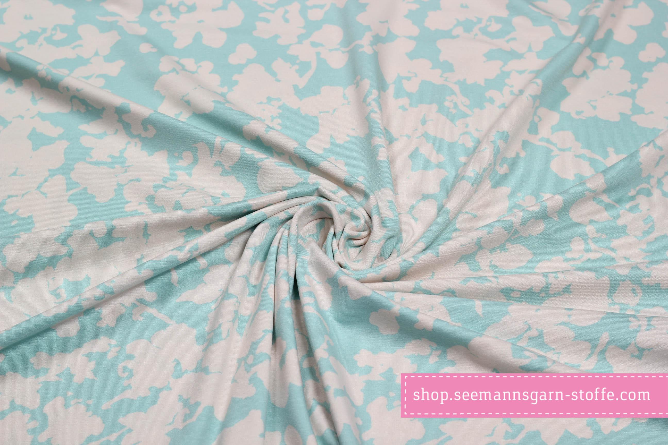 Viskose Jersey Stretch - Blumenranke türkis/weiß