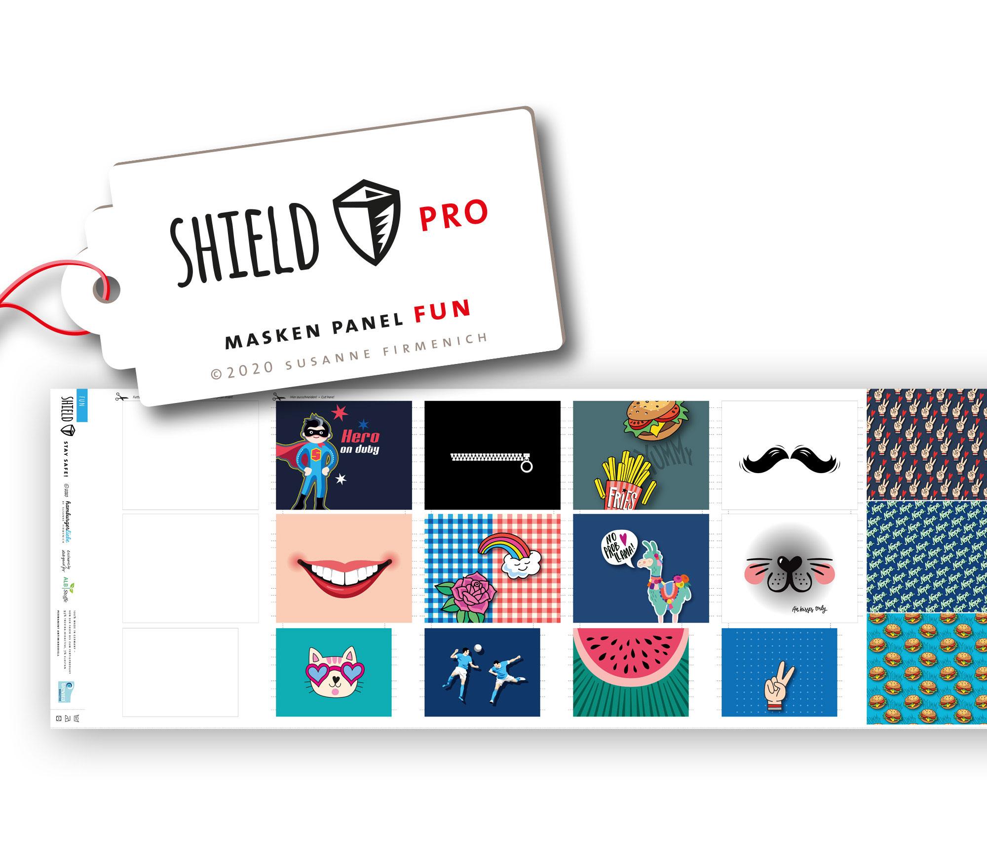 Shield Pro - Shield Panel FUN eckig von Hamburger Liebe & Albstoffe - antimikrobiell für Atem-und Mundmasken!