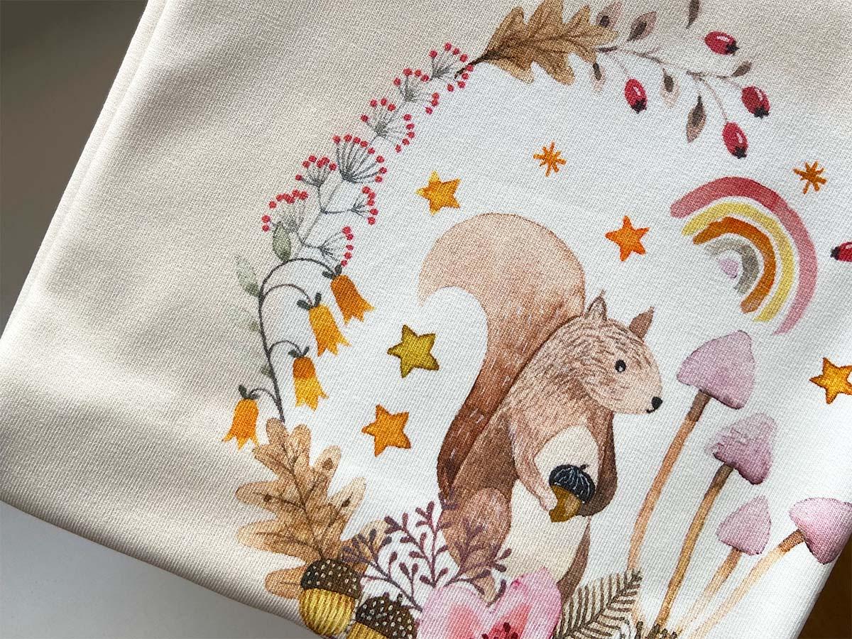 Sommersweat Panel - Autumn Song Eichhörnchen - Hilco