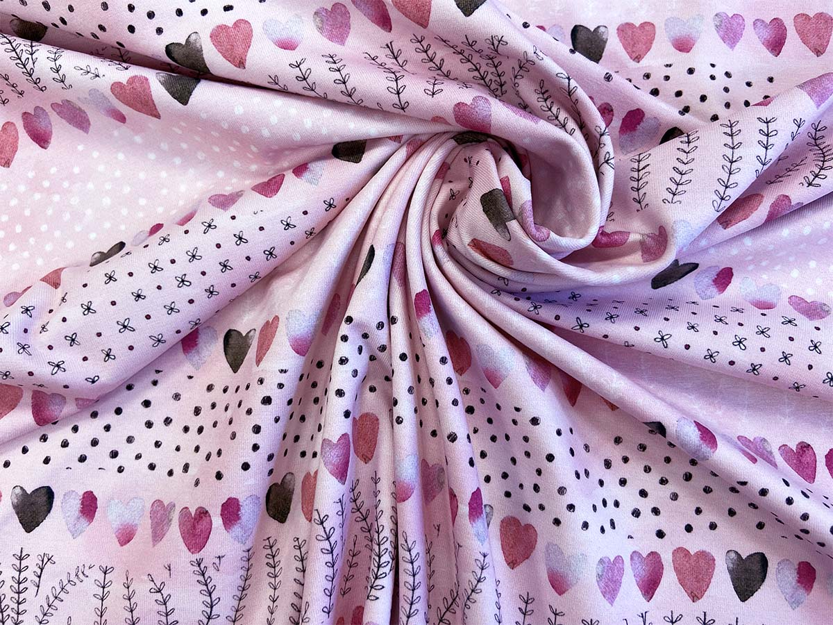 "Jersey - ""Hearts"" in rosa  | Hilco"
