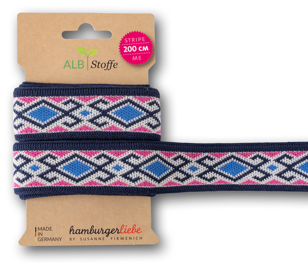 "Jacquard-Band - STRIPE ME ""Icon"" in blau/pink 3,5 cm - HAMBURGER LIEBE & ALBSTOFFE"
