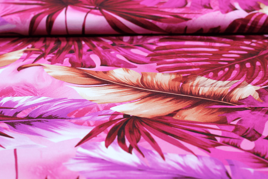 Viskose Jersey Palm Leaves in pink