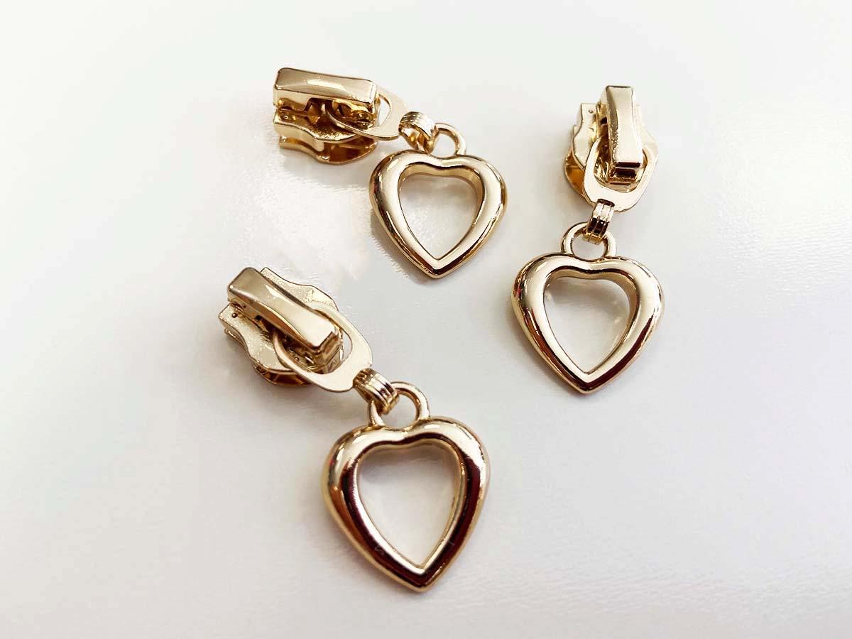 Zipper für Reißverschlüsse - Herz/gold