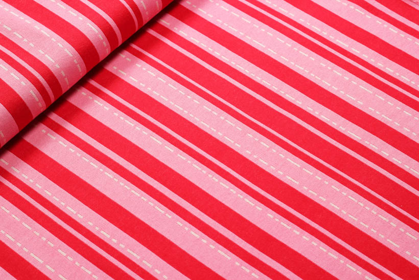 "Jacquard - BLOOM ""Pin Stripes"" rot  - HAMBURGER LIEBE & ALBSTOFFE"