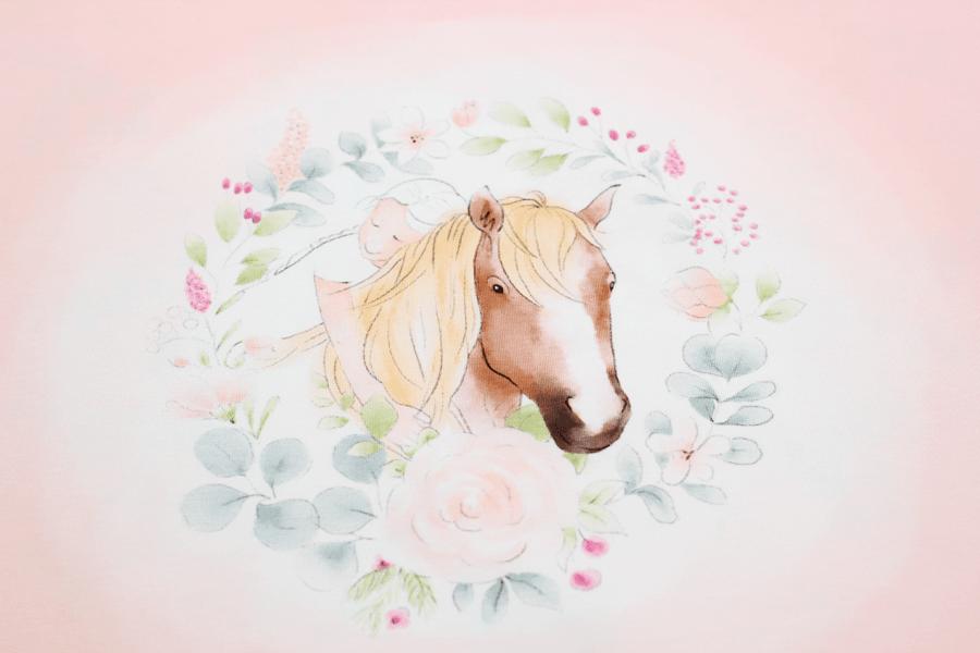 Jersey Panel Romantic Horse in rosa von Hilco