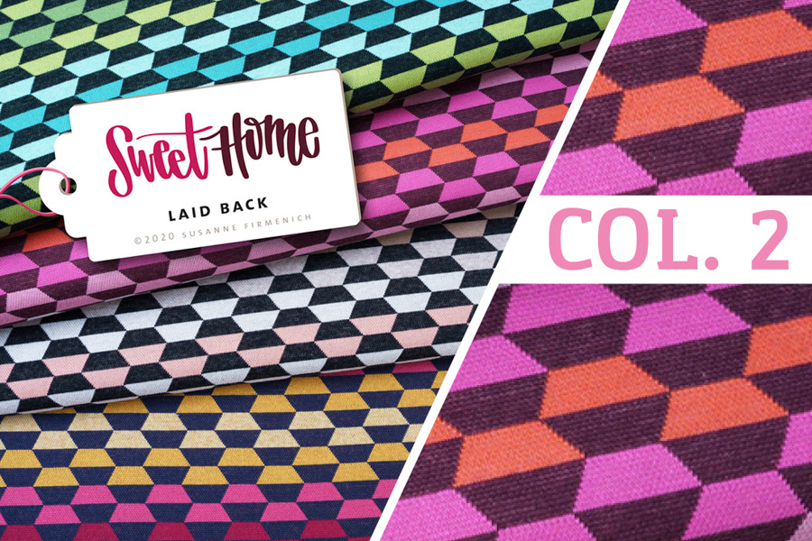 Bio-Jacquard-Jersey - SWEET HOME Laid Back Col. 2 (pink/orange) - HAMBURGER LIEBE & ALBSTOFFE