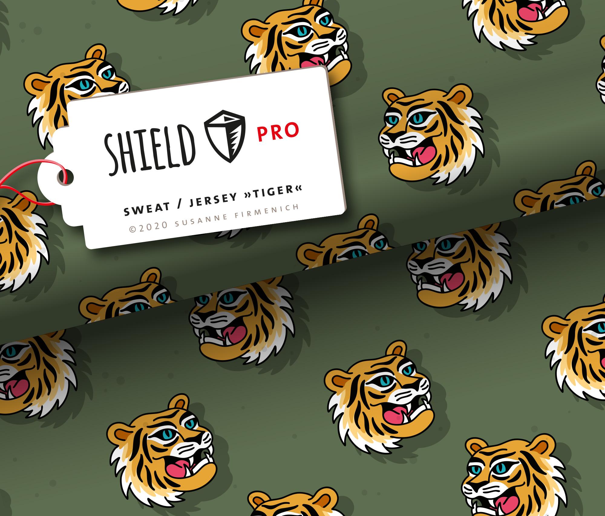 Sweat Shield Pro - Tiger grün antibakteriell von Hamburger Liebe & Albstoffe.