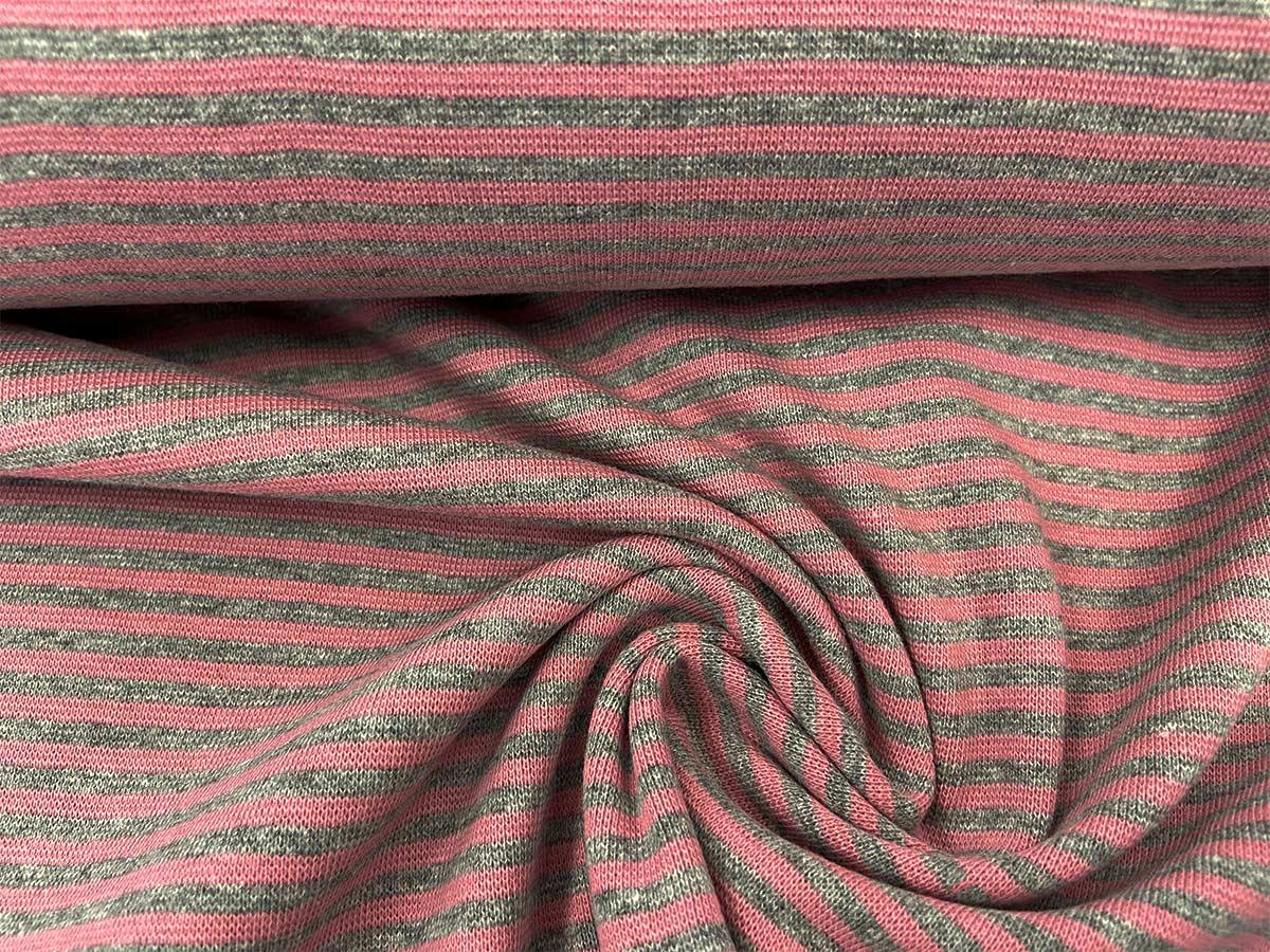 Bündchen - rosa/grau gestreift
