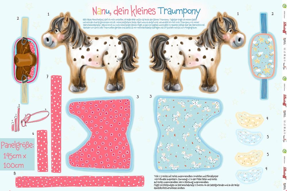 Bio-Baumwolle Panele - Nanu das kleine Traumpony von Lillestoff