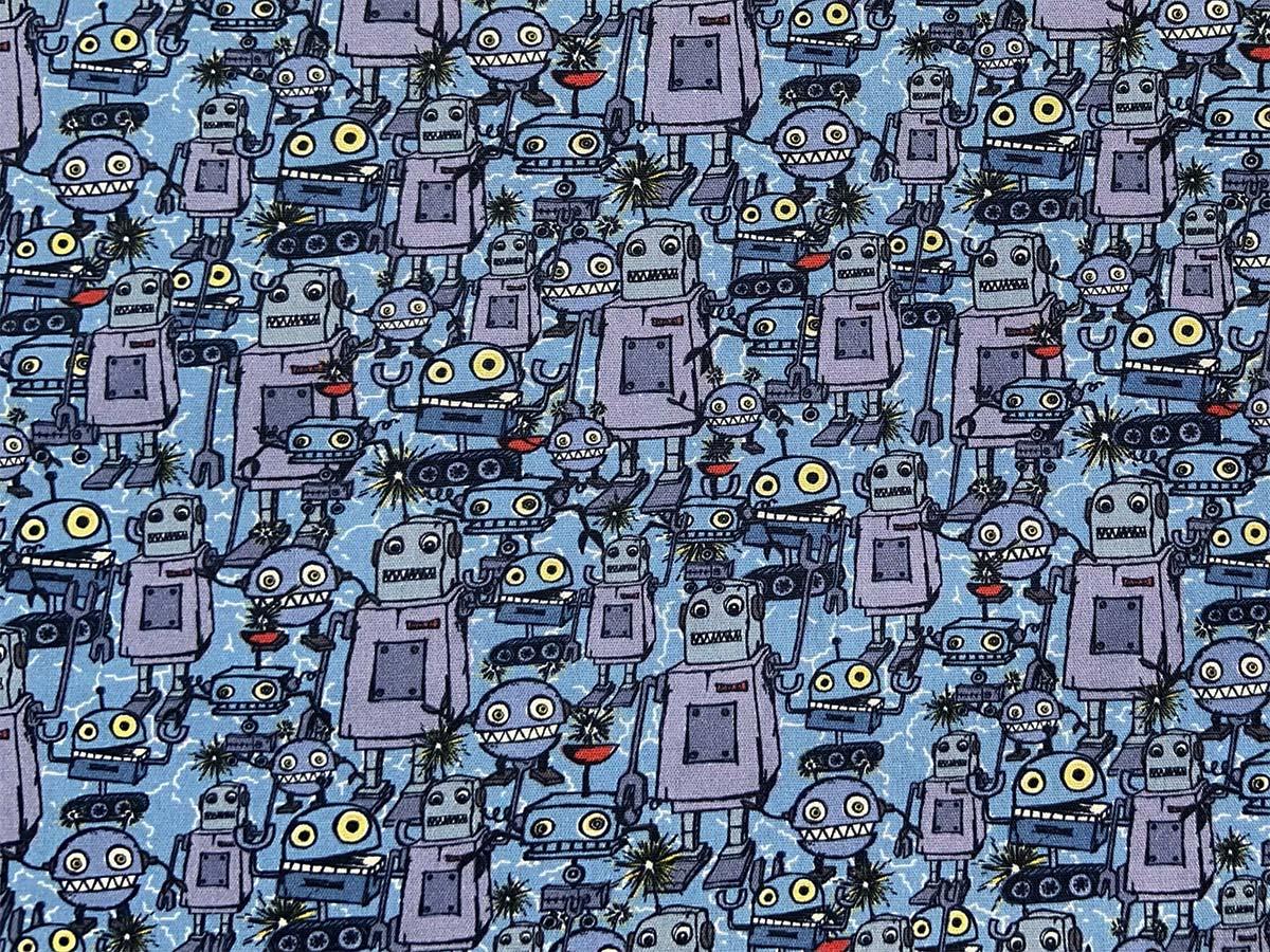 Webware Baumwolle - Happy Metal Roboter by Steinbeck - blau - Swafing