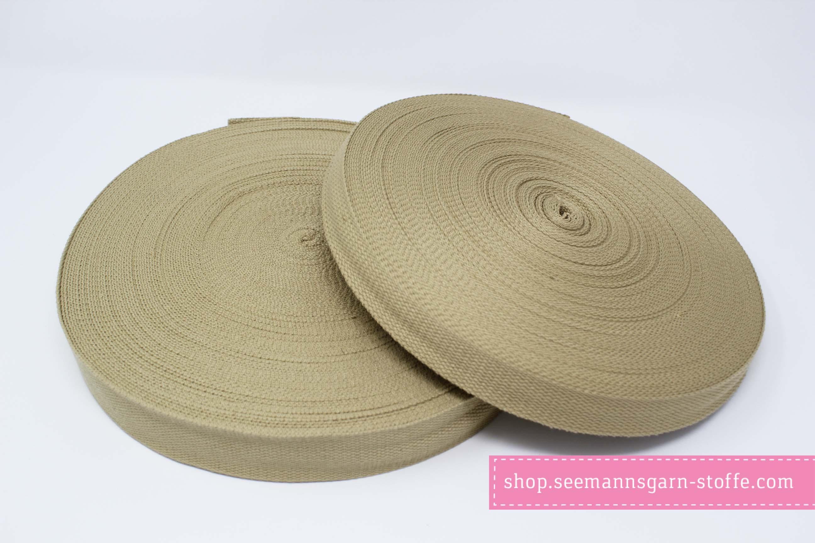 Baumwoll Gurtband beige 25 mm