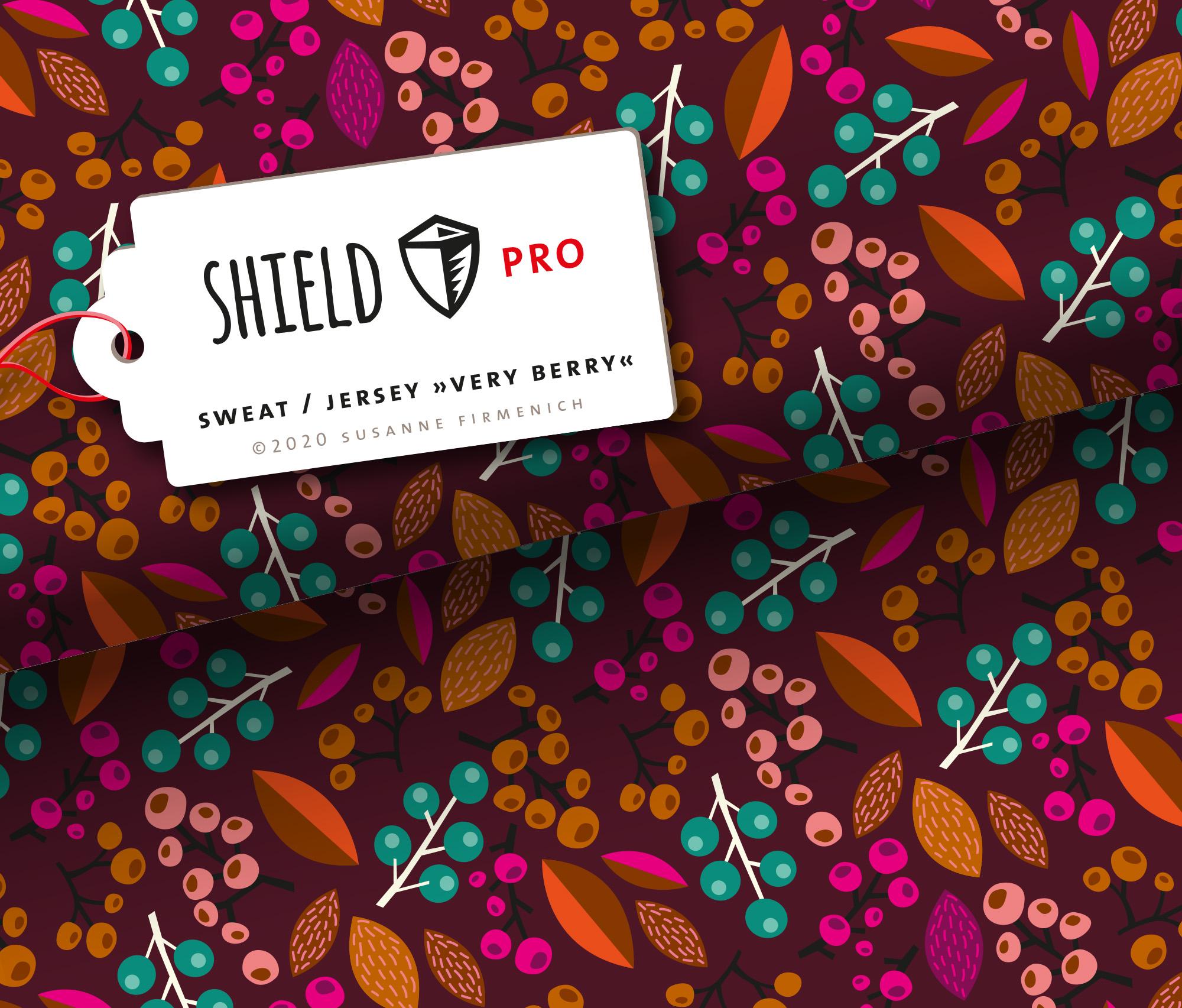 Shield Pro - Very Berry bordeaux  von Hamburger Liebe & Albstoffe - antimikrobiell für Atem-und Mundmasken!