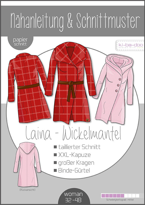 KI-BA-DOO Laina Wickelmantel Damen Papierschnittmuster