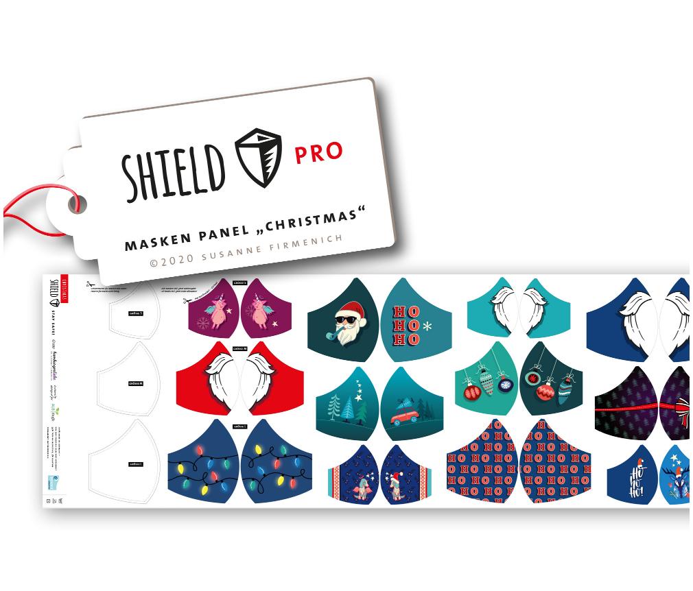 Shield Pro - Shield Panel Christmas rund von Hamburger Liebe & Albstoffe - antimikrobiell für Atem-und Mundmasken!