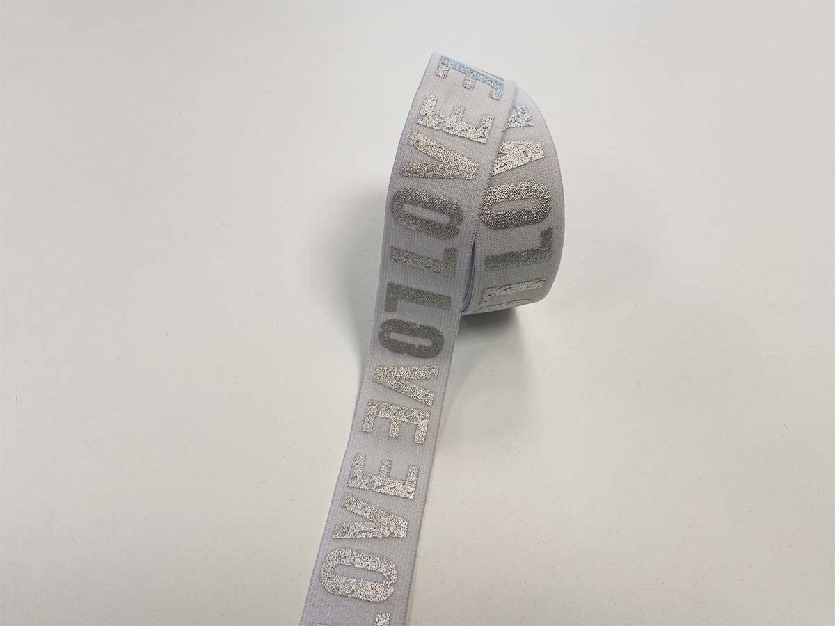 Gummiband LOVE in weiß, 4 cm
