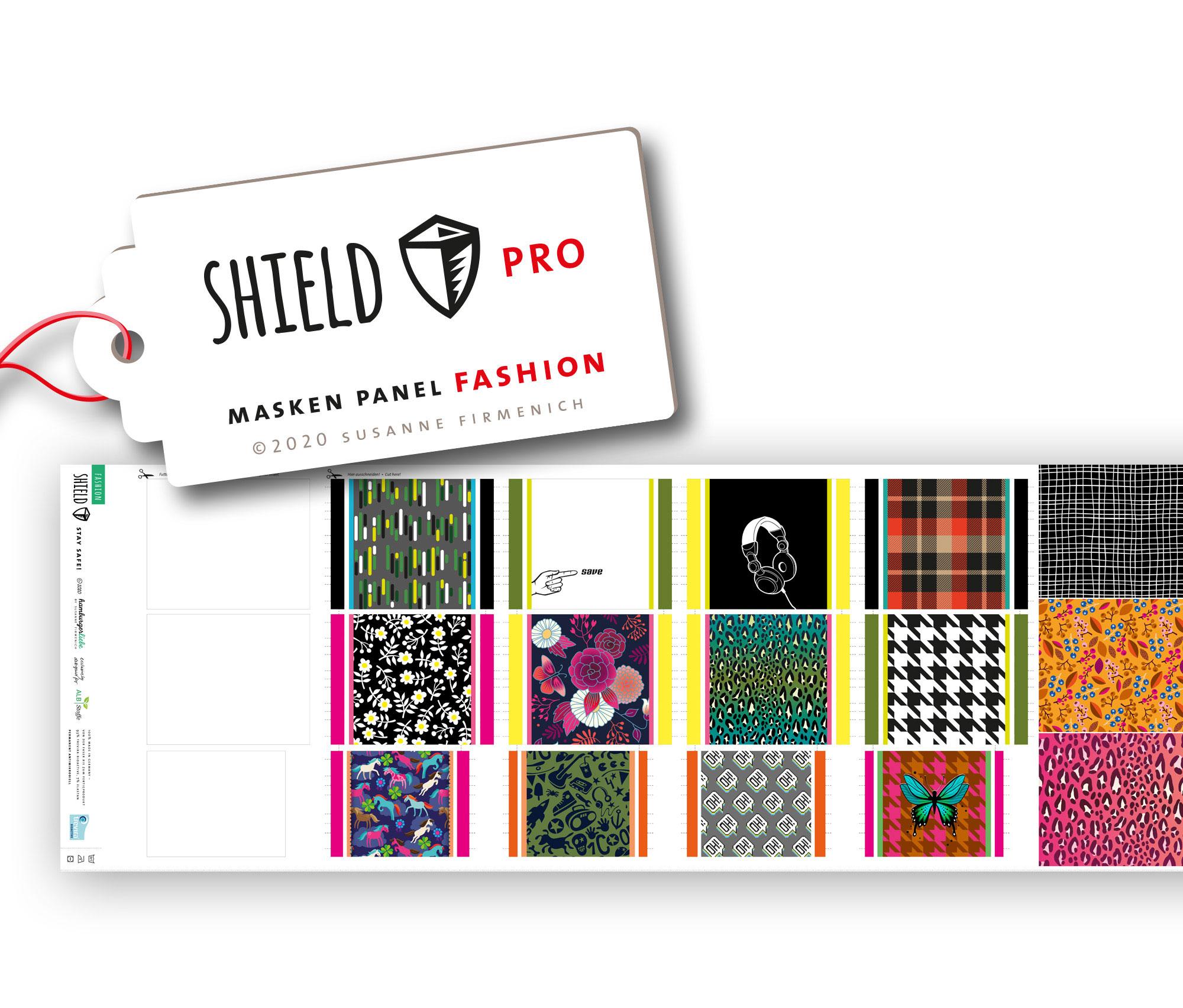 Shield Pro - Shield Panel Fashion eckig von Hamburger Liebe & Albstoffe - antimikrobiell für Atem-und Mundmasken!