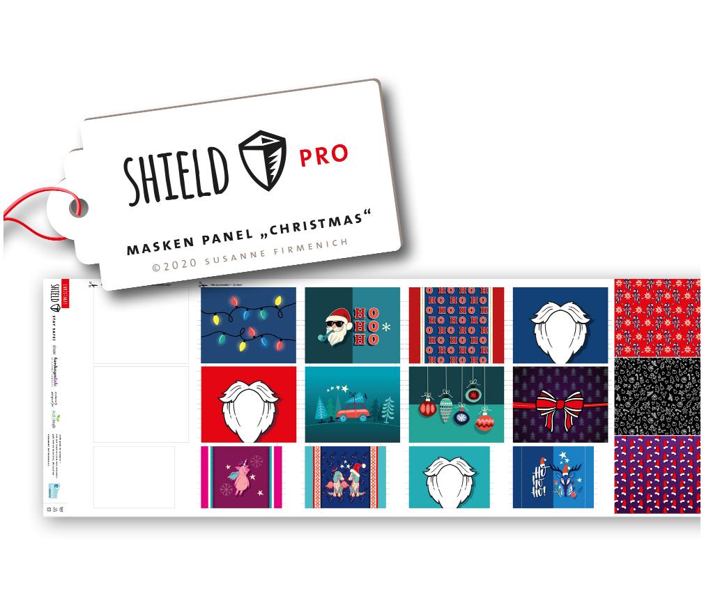 Shield Pro - Shield Panel Christmas eckig von Hamburger Liebe & Albstoffe - antimikrobiell für Atem-und Mundmasken!