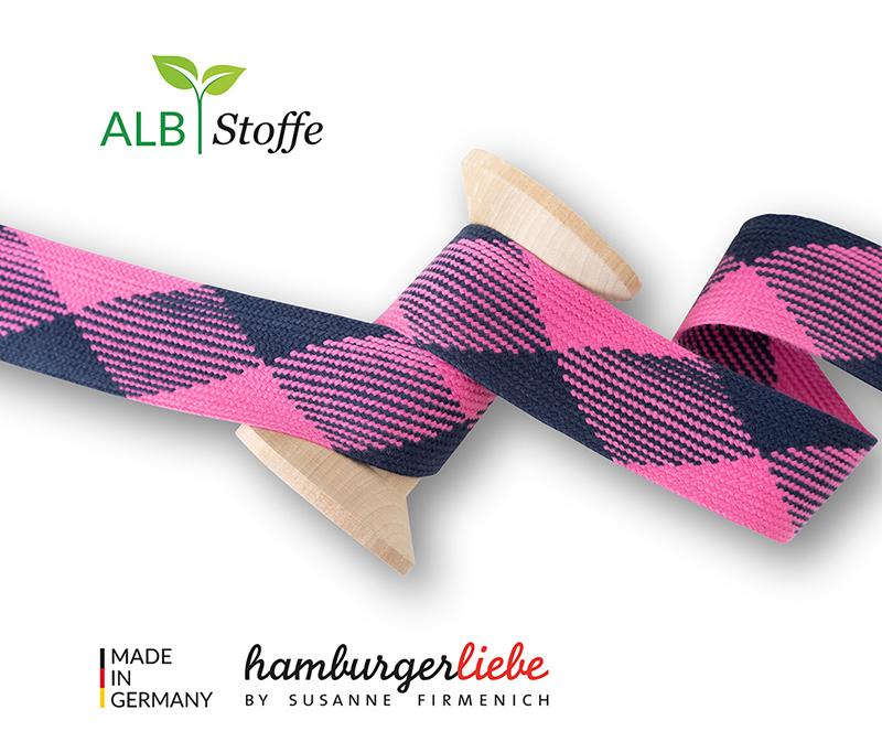 "Kordeln - TWIST ME ""Flat"" pink 3,5 cm  - HAMBURGER LIEBE & ALBSTOFFE"