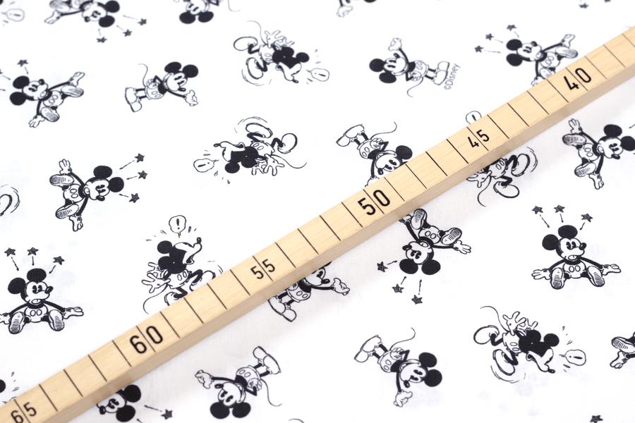 Baumwolle mit Mickey Mouse Design in schwarz weiß