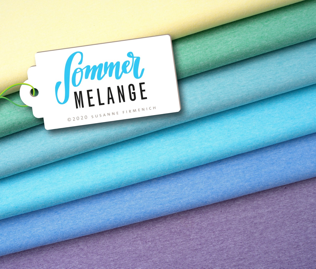 Mélange Single Jersey - Sommerfarben in Pastell Petrol