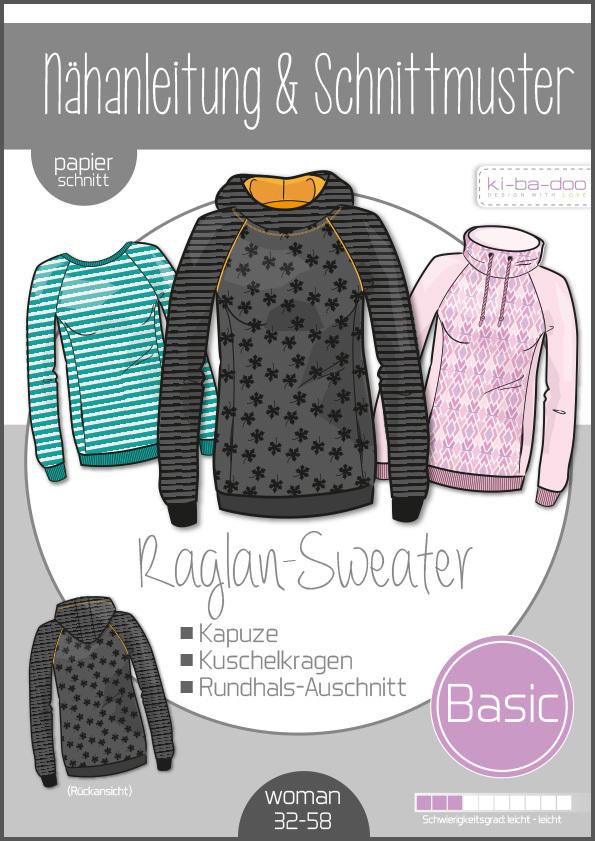 KI-BA-DOO Raglan Sweater Hoodie Pullover Damen Papierschnittmuster