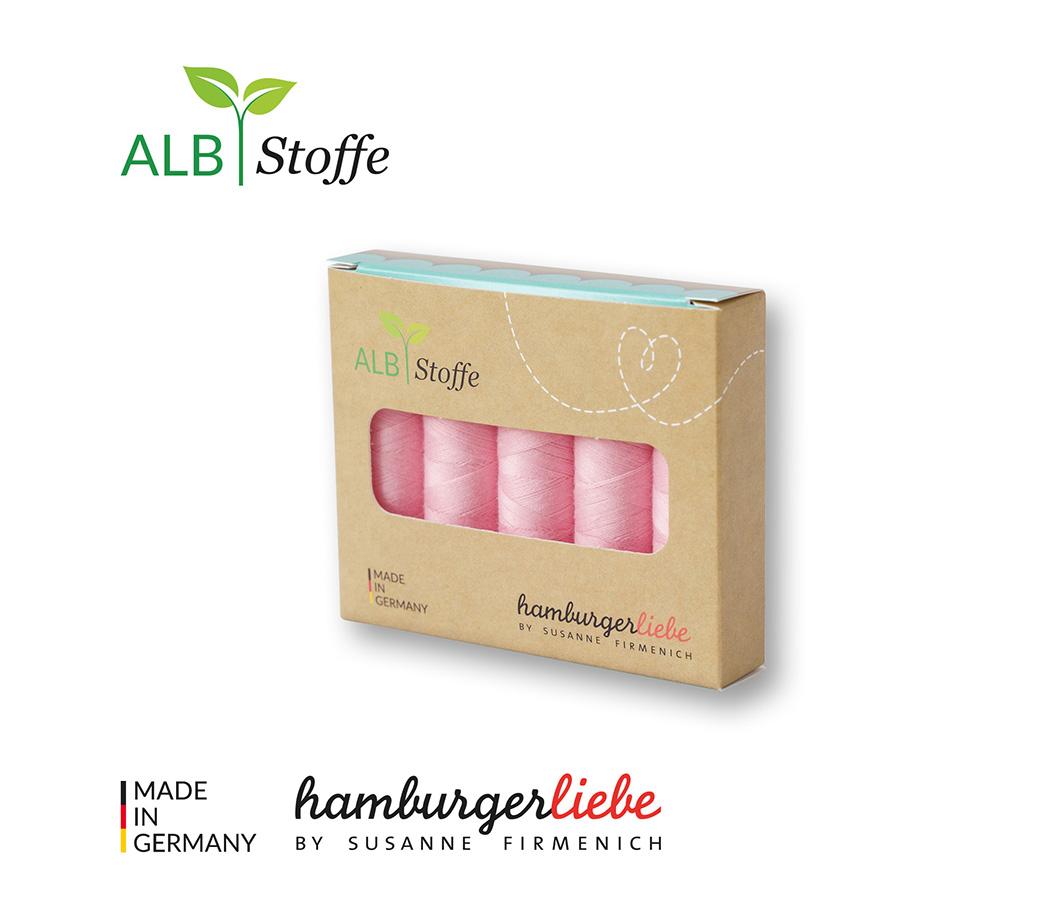 Nähgarn-Set Stitch Me rosa scuro 5er Set von Hamburger Liebe & Albstoffe
