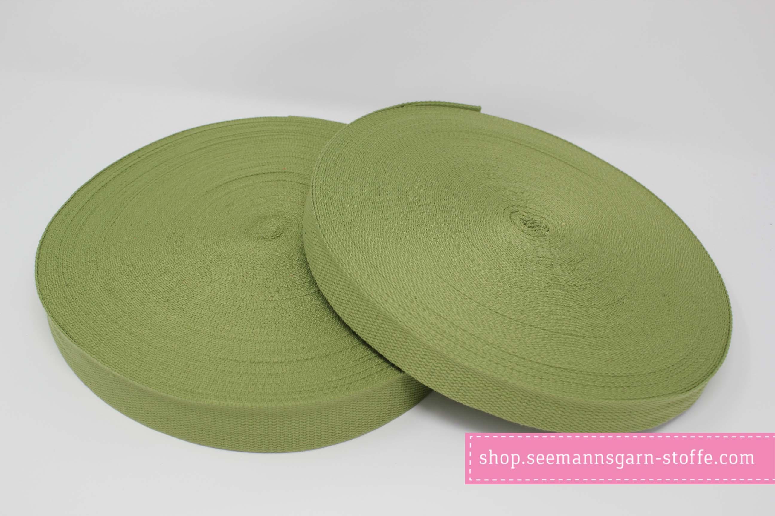 Baumwoll Gurtband dunkelgrün 25 mm