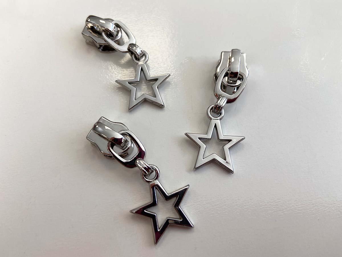 Zipper für Reißverschlüsse - Stern/silber