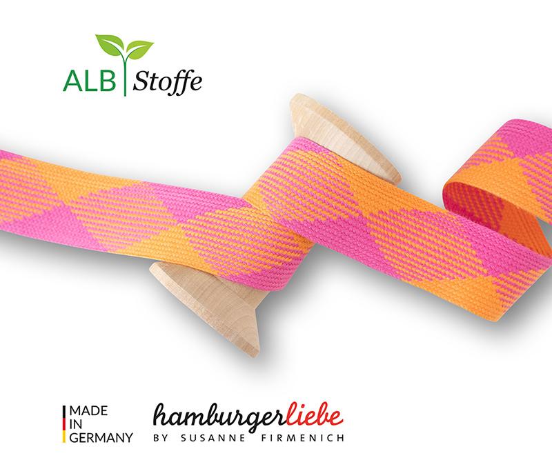 "Kordeln - TWIST ME ""Flat"" pink / orange 3,5 cm  - HAMBURGER LIEBE & ALBSTOFFE"