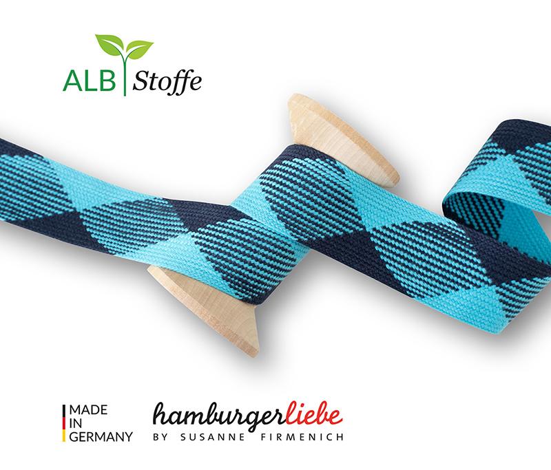 """Kordeln - TWIST ME """"Flat"""" blau 3,5 cm - HAMBURGER LIEBE & ALBSTOFFE"""