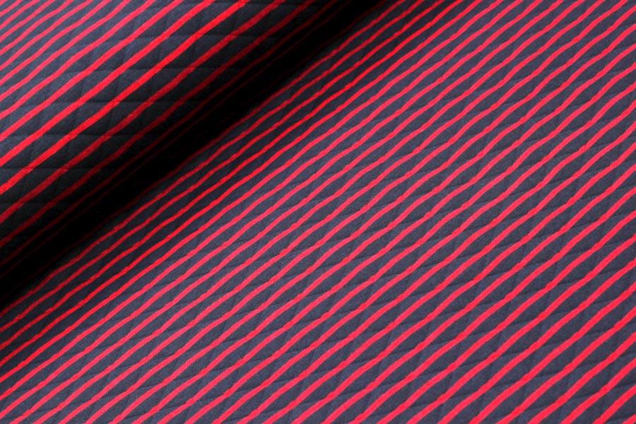 Steppstoff in blau-rot gestreift